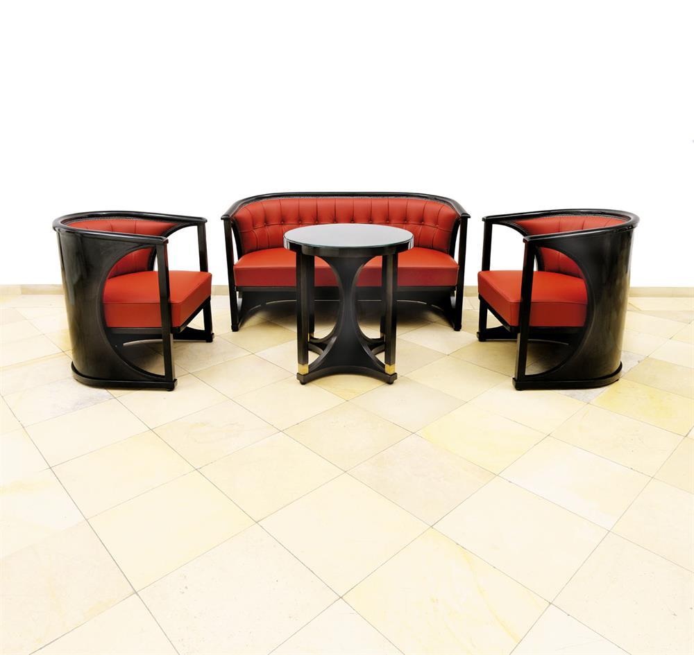 Sitzgarnitur (Josef Hoffmann zugeschrieben) mit Tisch (Josef Hoffmann)