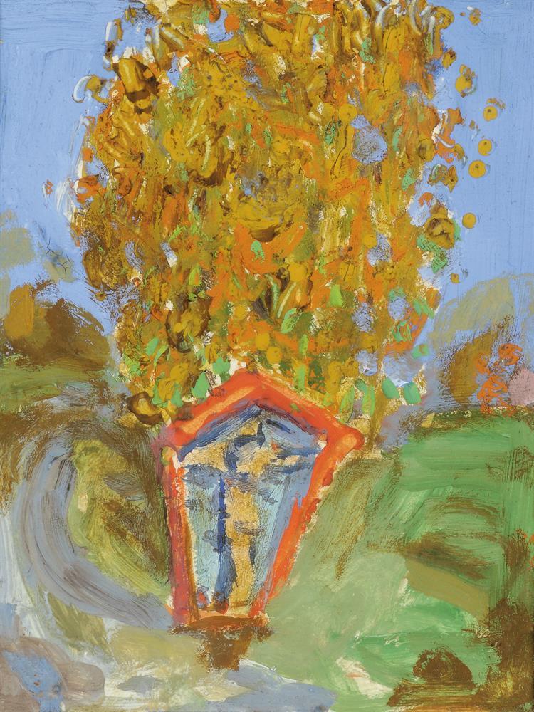 Herbstlicher Baum mit Marterl
