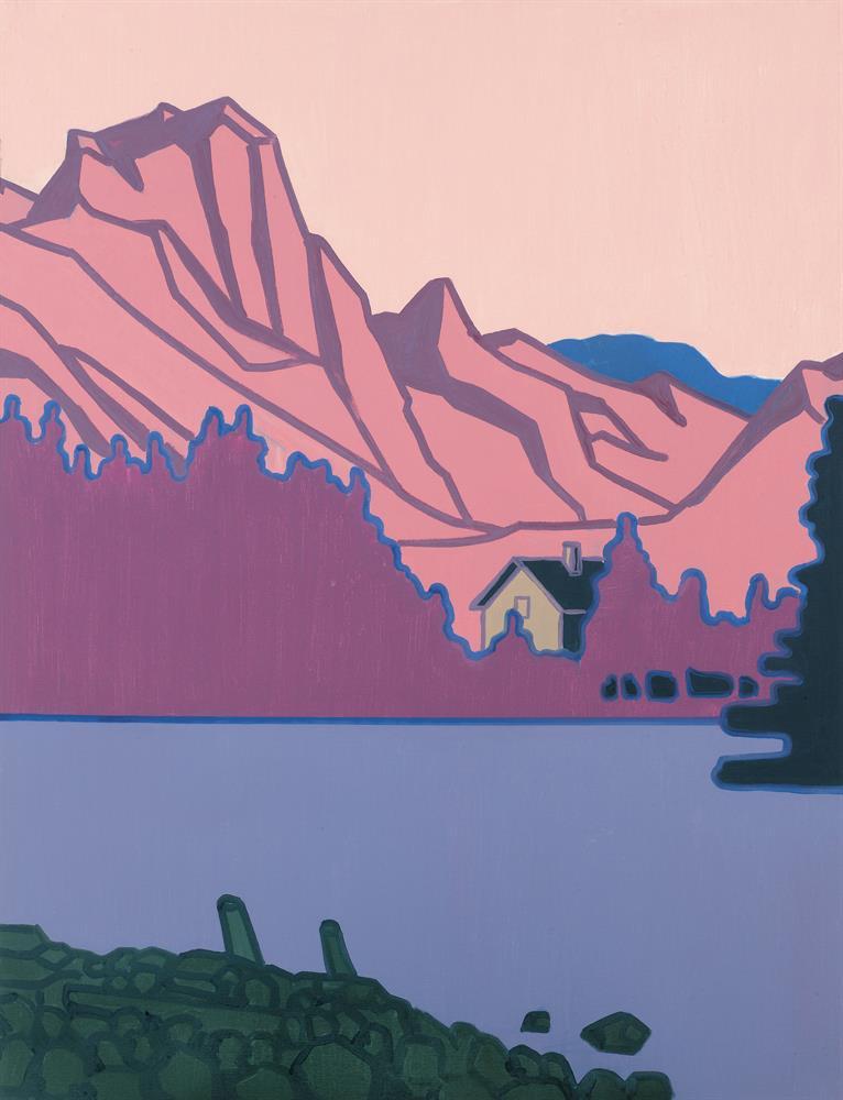 Haus am See umgeben von Berglandschaft