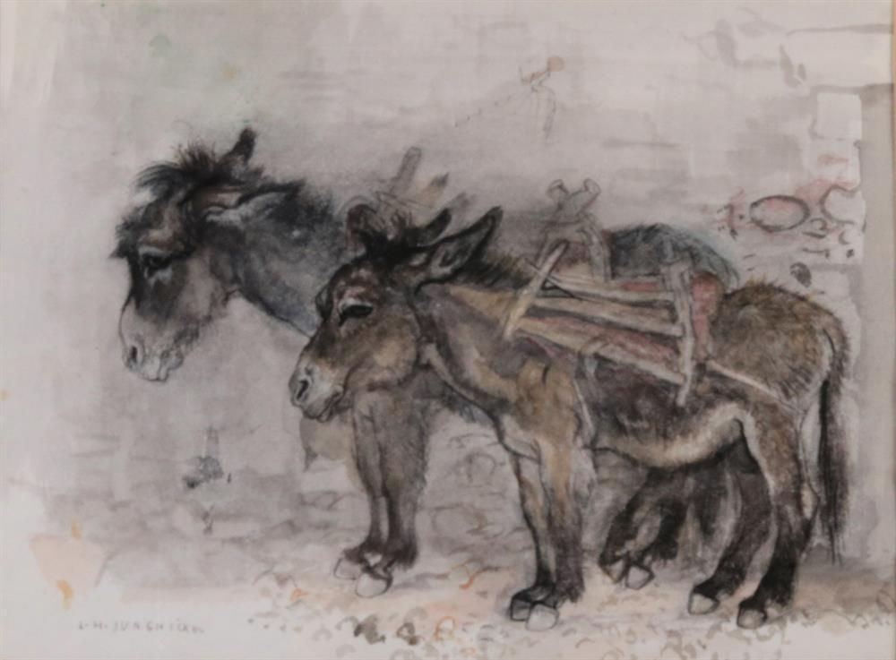 Zwei Esel nach Links