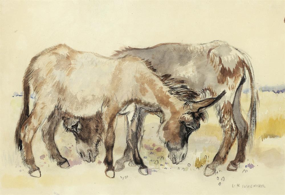 Zwei dalmatinische Esel fressend