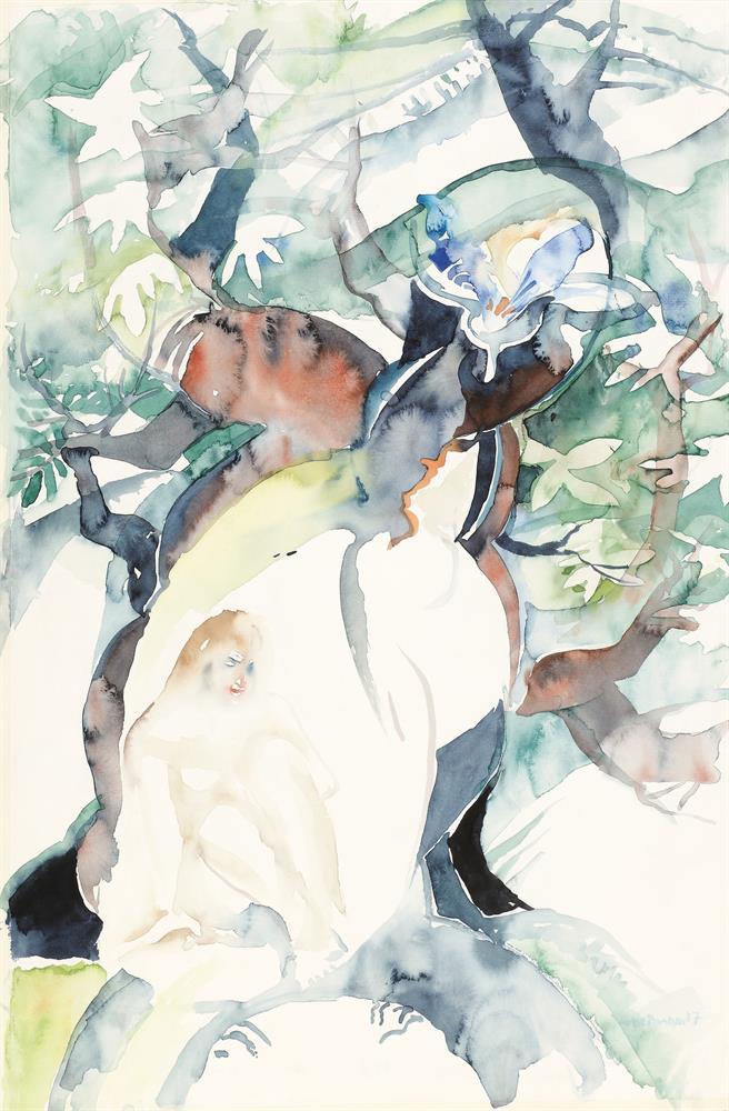 Frau im Baum