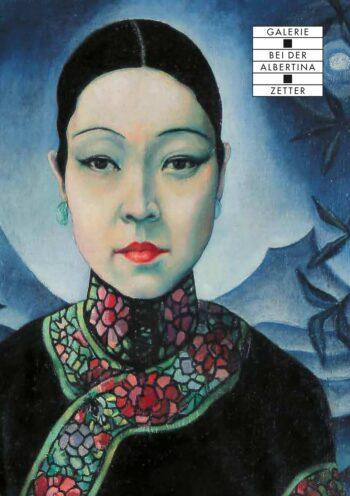 Asiatische Frau auf Hintergrund in Blautönen